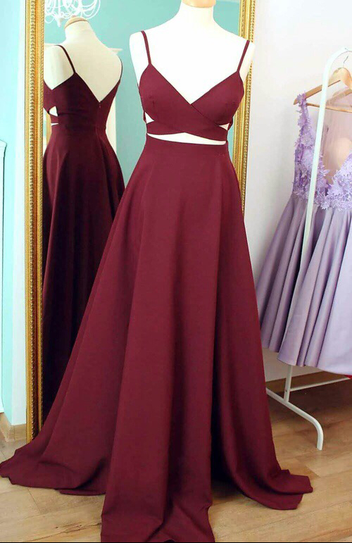 1572f7e17a 2018 Elegant Straps Long Burgundy Prom Dress Evening Dress ...