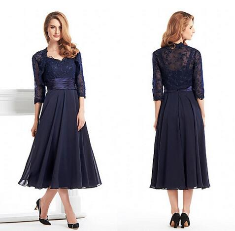 b25a61d56506 Custom Made Tea Length Mother Of The Bride Groom Dress With Jacket Long  Sleeves Navy Blue
