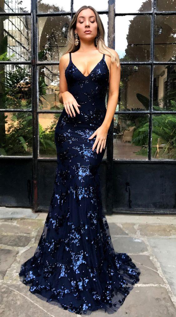 ccafa81c06f Navy Blue Long Mermaid Prom Dresses Deep V-Neck Sequins Spaghetti ...
