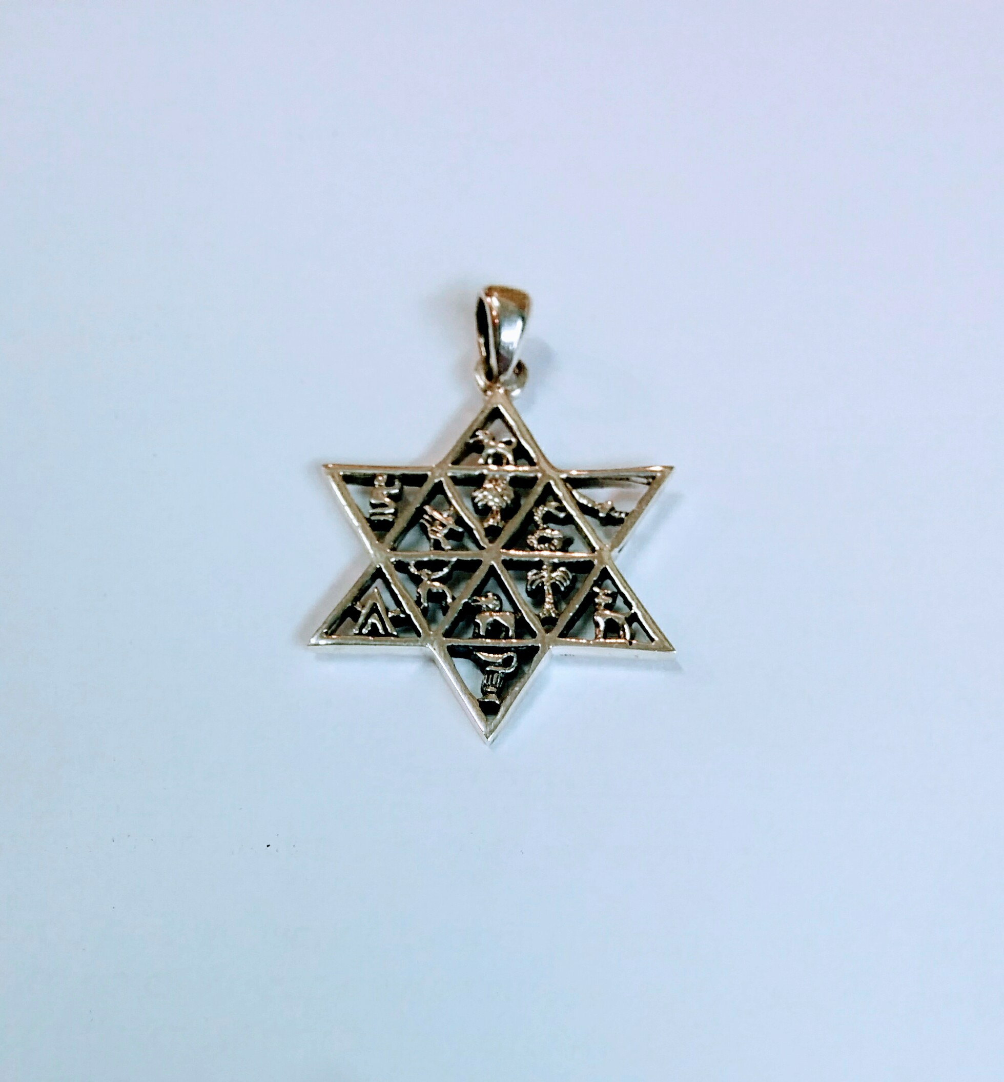 Star Of David With Twelve Tribes Of Israel Silver Pendant Necklace Judaica Jewelry Jewish Jewelry Online Store Powered By Storenvy