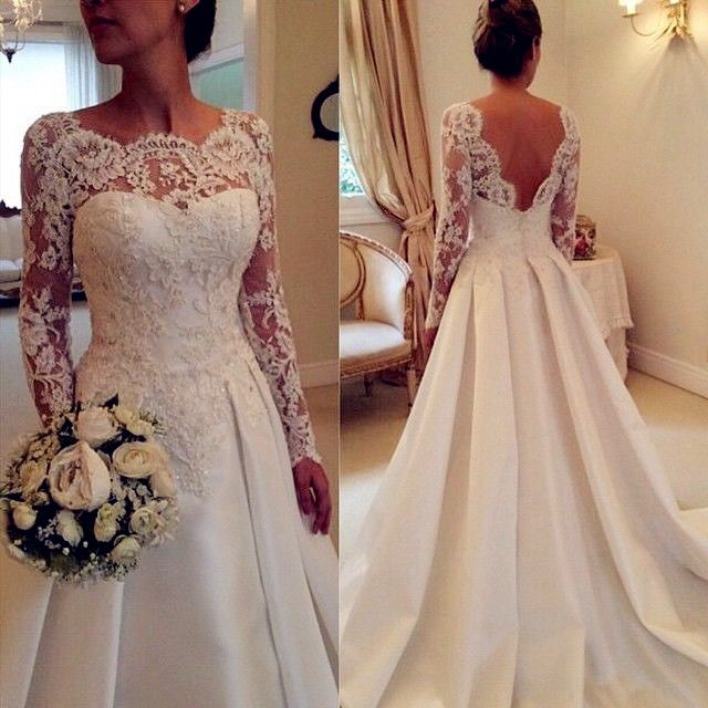 Long Sleeve Wedding Dress Plus Size With Lace Overlay Open Back Lace