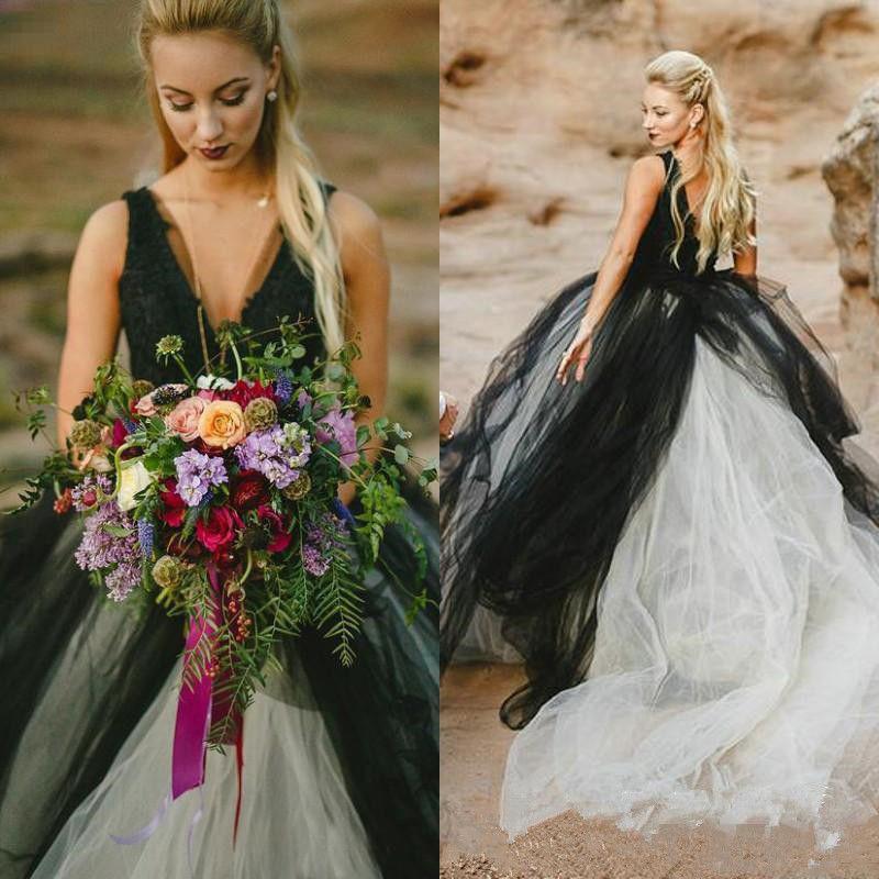 2019 beach wedding dress2019 gothic wedding dress black white v 2019 beach wedding dress2019 gothic wedding dress black white v neck brida mightylinksfo