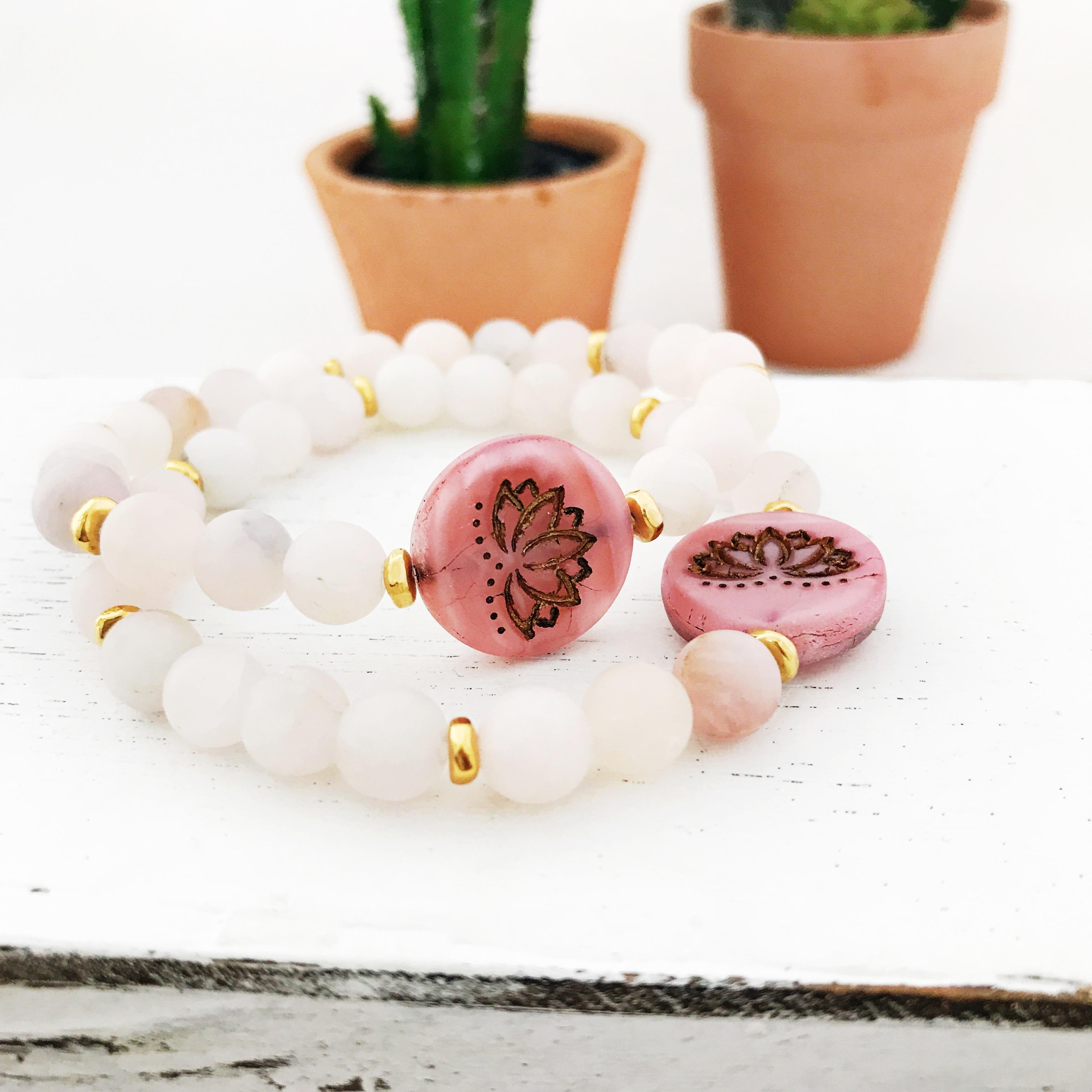 Yellow Rose Quartz Matte Gemstones Lotus Flower Healing Stretch Bracelet Meditation Yoga