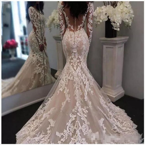 2019 New Lace Wedding Dresses, Appliqued Wedding Dresses