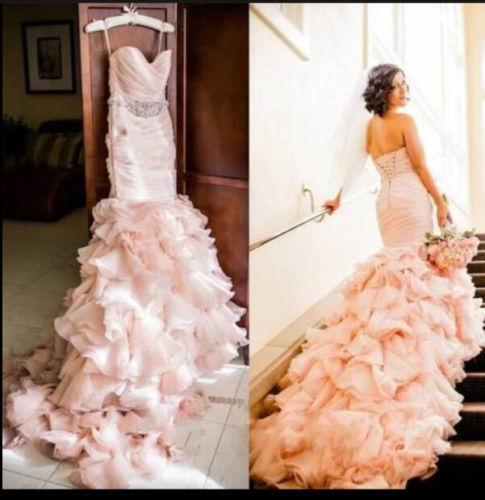 Ruching Wedding Gowns: Mermaid Pink Wedding Dresses, Sweetheart Ruffle Wedding