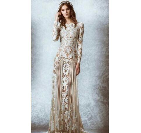 e9235356 Lace Sheer Wedding Dresses Garden Bridal Gowns Floor Length ...