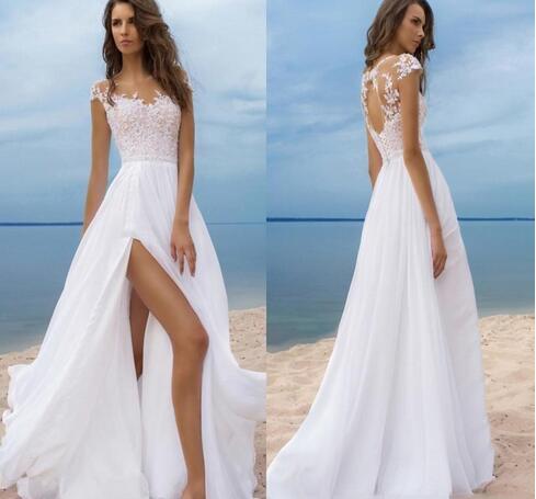 Beach Boho Wedding Dresses Short Sleeves Cheap Chiffon Bride Gowns High  Side Slit Backless Wedding Gowns Sheer Neck from MissZhu Bridal