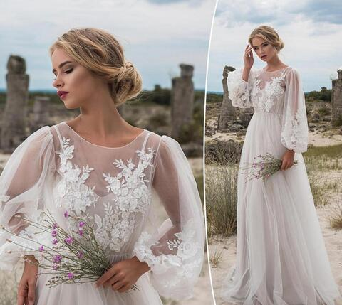 Boho Wedding Dresses Long Sleeves Bohemian Wedding Dresses Appliques Tulle Floor Length Beach Wedding Gowns Cheap Bridal Dresses Misszhu Bridal Online Store Powered By Storenvy