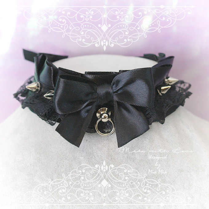Choker Necklace ,Kitten Play Collar , All Black Satin Lace Bow O Ring Spikes , Lolita -8375