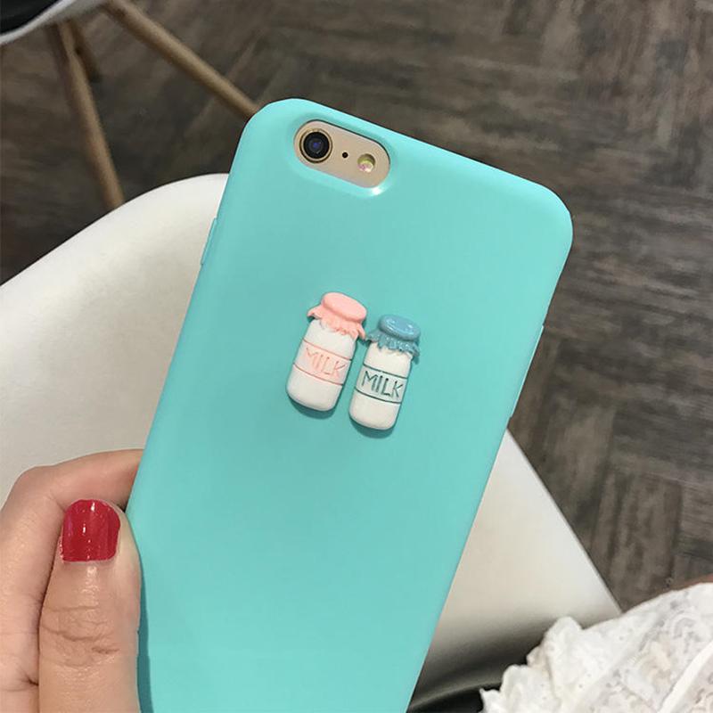 b59104e290a Case for iphone 5 5s 6 6s 7 8 plus X 3D Coffee Milk Makara pink cute ...