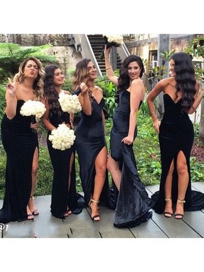 2a8511ca5462 2018 Black Bridesmaid Dress, Satin Sweetheart Long Bridesmaid Dress ...