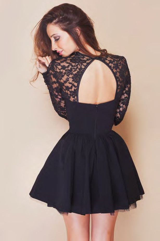 Black Lace Homecoming Dresses Short 2014