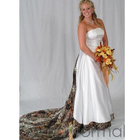 Vintage Plus Size Camo Wedding Dresses Bridal Gowns Strapless Lace-up Back  Sweep Train A Line Custom Made Satin Wedding Dress Brautkleider from ...