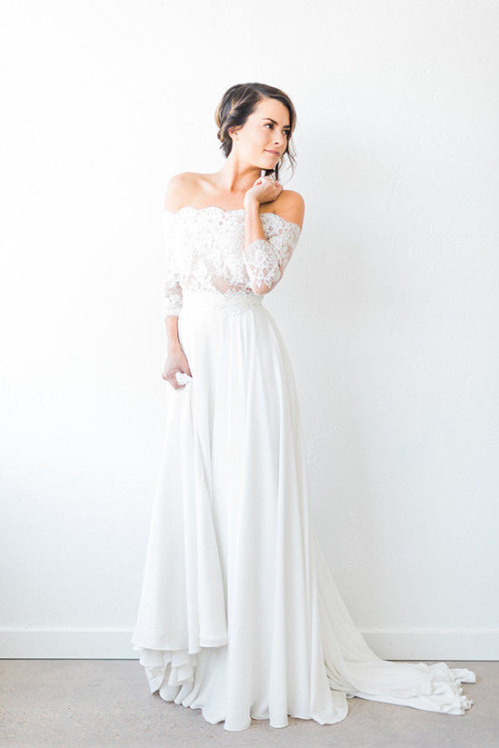 599f1063ea6 Beach Bohemian Wedding Dresses Off the Shoulder Sheer Long ...
