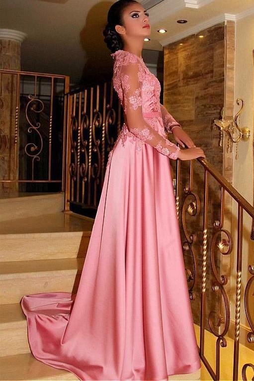 efccfb398ac Elegant Pink Long Prom Dress Lace Bodice Jewel Long Sleeve Satin Floor  Length Formal Evening Dress