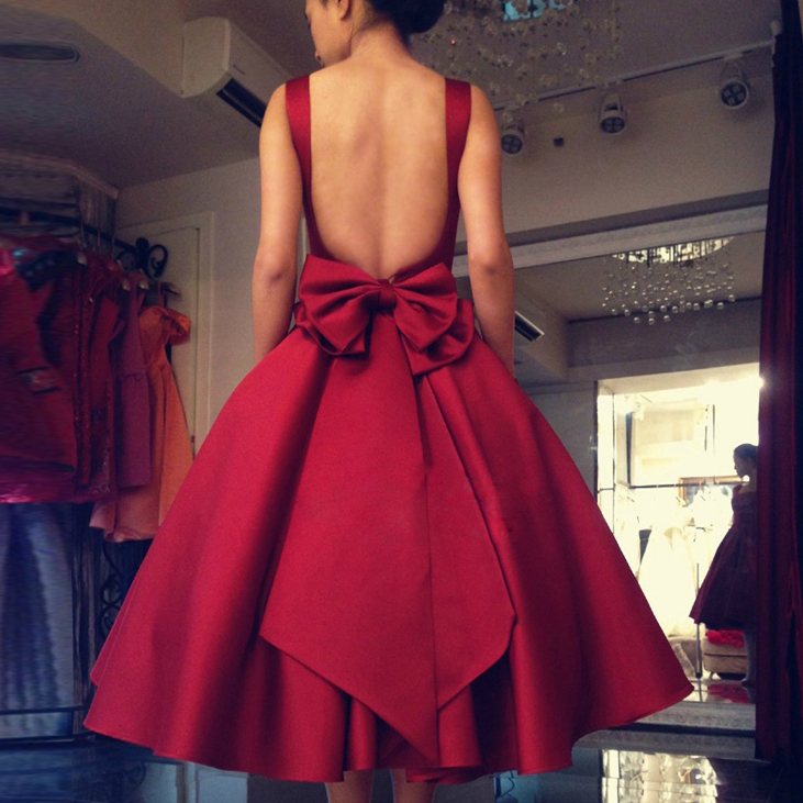 82841a8ddba2 Simple A-Line Square Red Satin Short Homecoming/Party Dress with Bowknot on  Storenvy