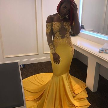 e2ced45a90b2 Mermaid Yellow Satin Prom Dress Off Shoulder Lace Appliques Women dress