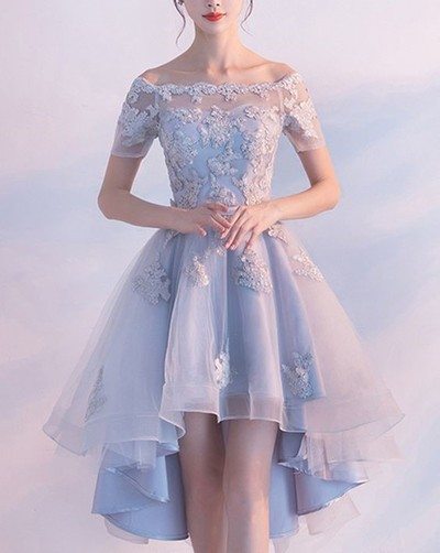 eed99e709e3f Light Blue High Low Elegant Prom Dress Lace Appliques Beaded Off Shoulder Short  Sleeve Back Design