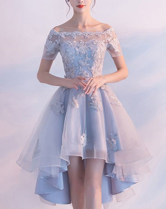 914e712f6f3 Light Blue High Low Elegant Prom Dress Lace Appliques Beaded Off ...