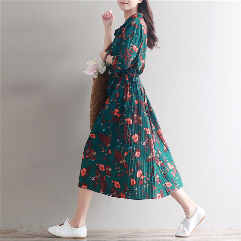 d9148e197cb2 Chiffon Dress Women Casual Vintage Green Flower Print Three Quarter Sleeve  Retro Spring Summer High Waist