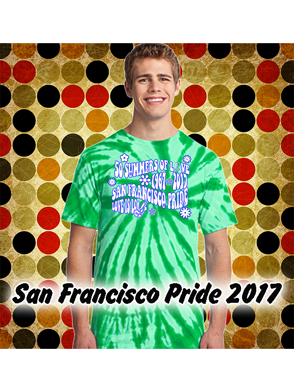 447e3b479504 San Francisco Pride Summer of Love Kelly Green Tie Dye T-shirt from We the  People Clothing