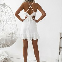 0ba1882392e ... Bodycon Spaghetti Straps Criss-Cross Straps White Tired Homecoming Dress  - Thumbnail 2 ...