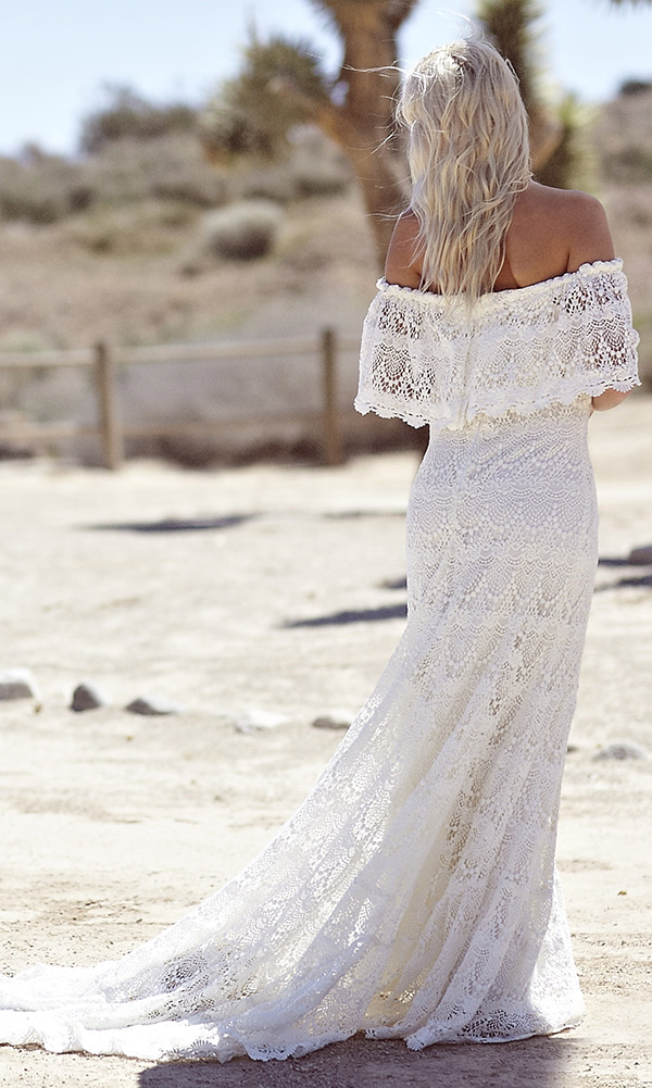 Hot 2018 Full Lace Bohemian Summer Beach Wedding Dresses Off The Shoulder Cheap Boho Hippie Sweep Train Plus Size Bridal Gowns From Foundlove