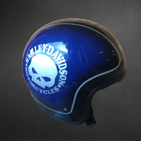 Blue Metallic Harley Davidson Motorcycle Helmets Dark