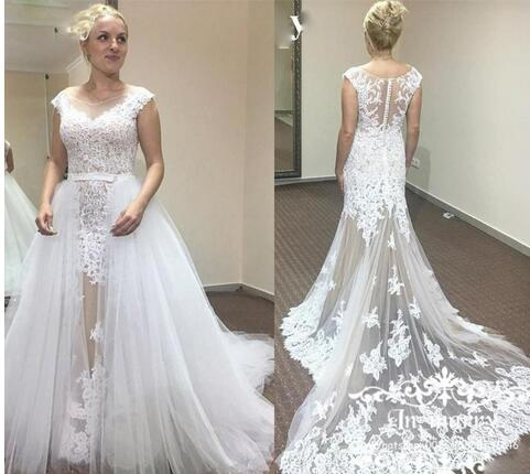 Detachable Wedding Dress.Detachable Skirt Mermaid Wedding Dresses Sheer Scoop Neck Illusion Back Wedding Gowns With Lace Appliques Overskirts Bridal Dresses From Bettybridal