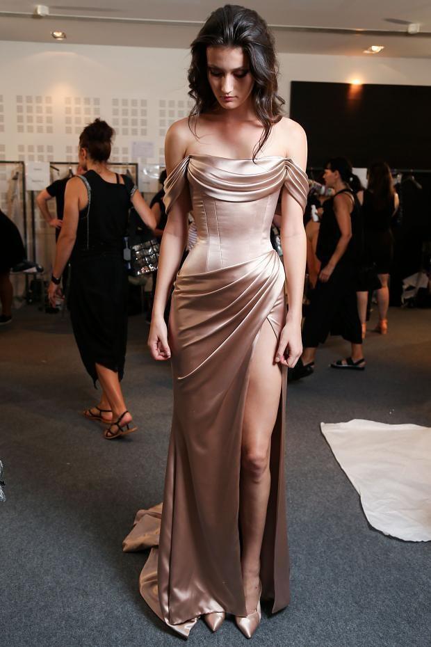 942f2611f0 Simple Off the Shoulder Sheath Evening Gown Ruffles Split Sweep Train Prom  Dress