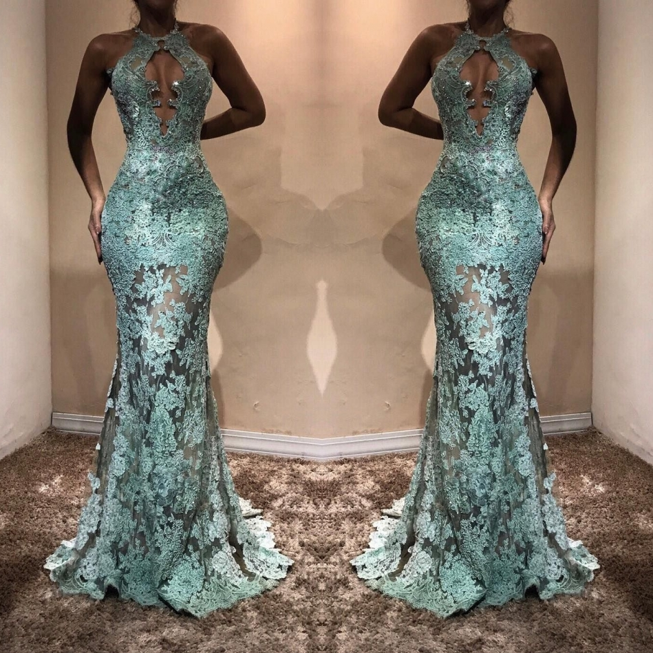 b2ec47b83c9 Sexy Mint Green Lace Prom Dresses