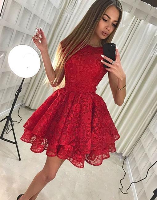 02dcea843180 Cute lace short lace prom dress