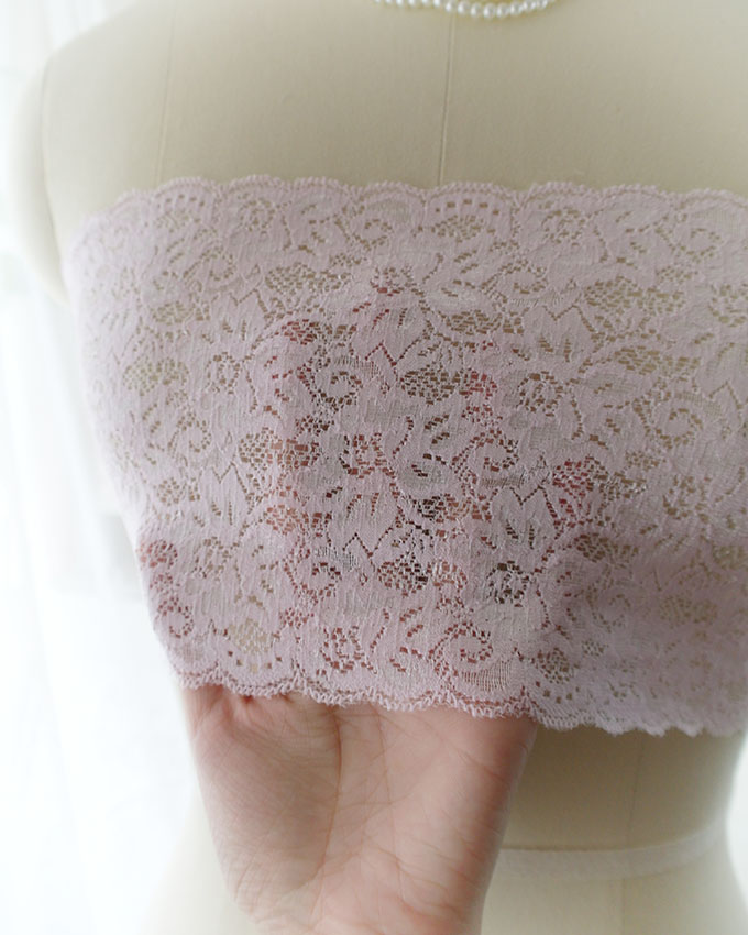 14f46d56a2 Light Baby Pink Lace Simple Semi Sheer Tube Crop Top Bandeau ...