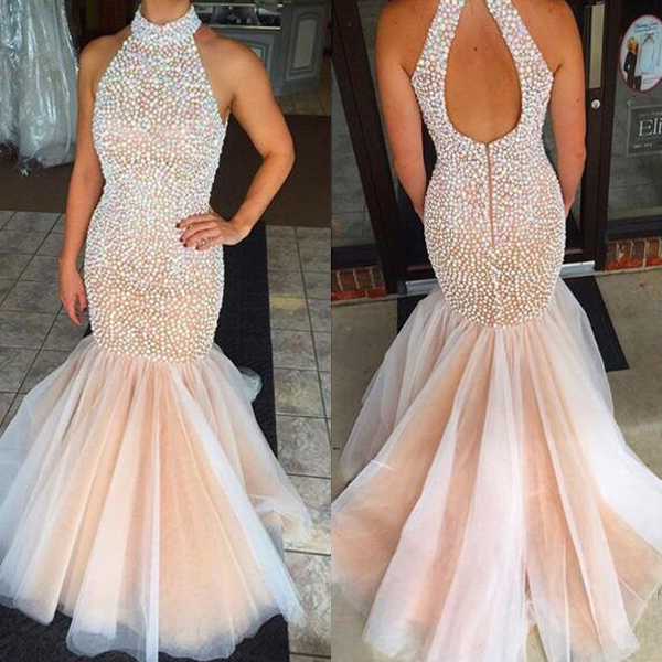 7112a79fcc4 Gorgeous Mermaid Prom Dress Halter Sexy Open Back Sequins Beaded Floor  Length Tulle Formal Evening Party
