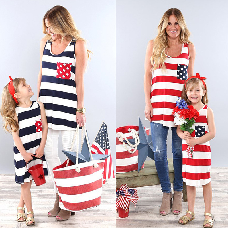 1afaddcde11ad 4th July American Fesitval Striped Sleeveless Mother Daughter Matching Dress
