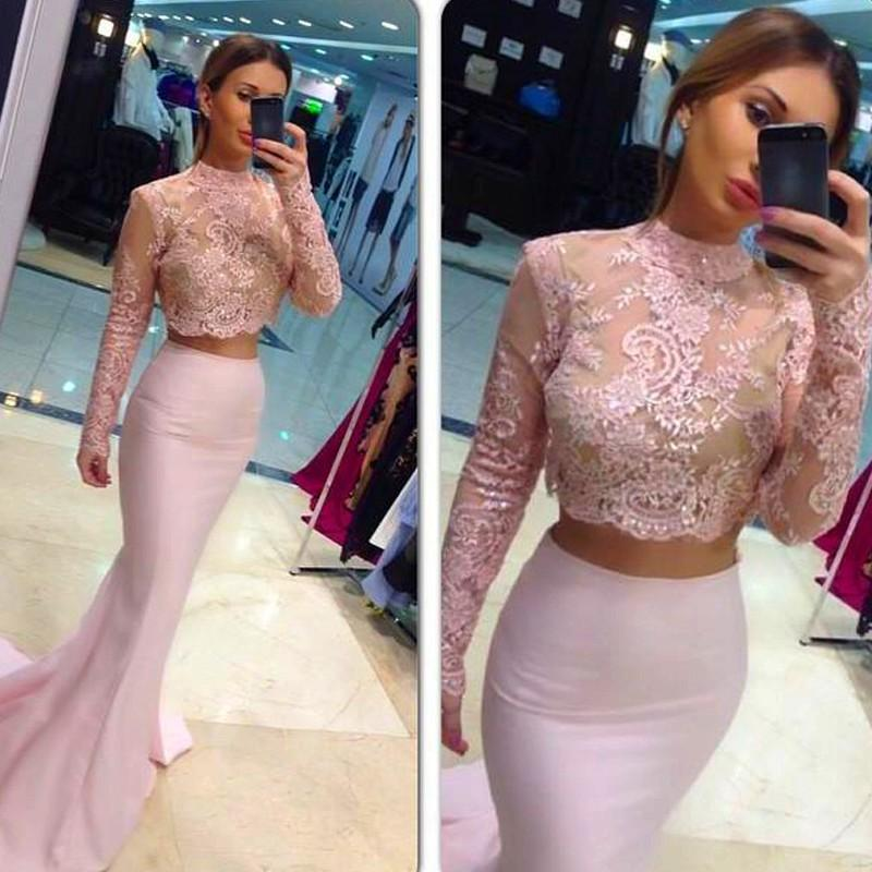 a896e232942c Pink Two Piece Lace Mermaid Prom Dress High Neck Long Sleeve Sequins Beaded  Floor Length Formal