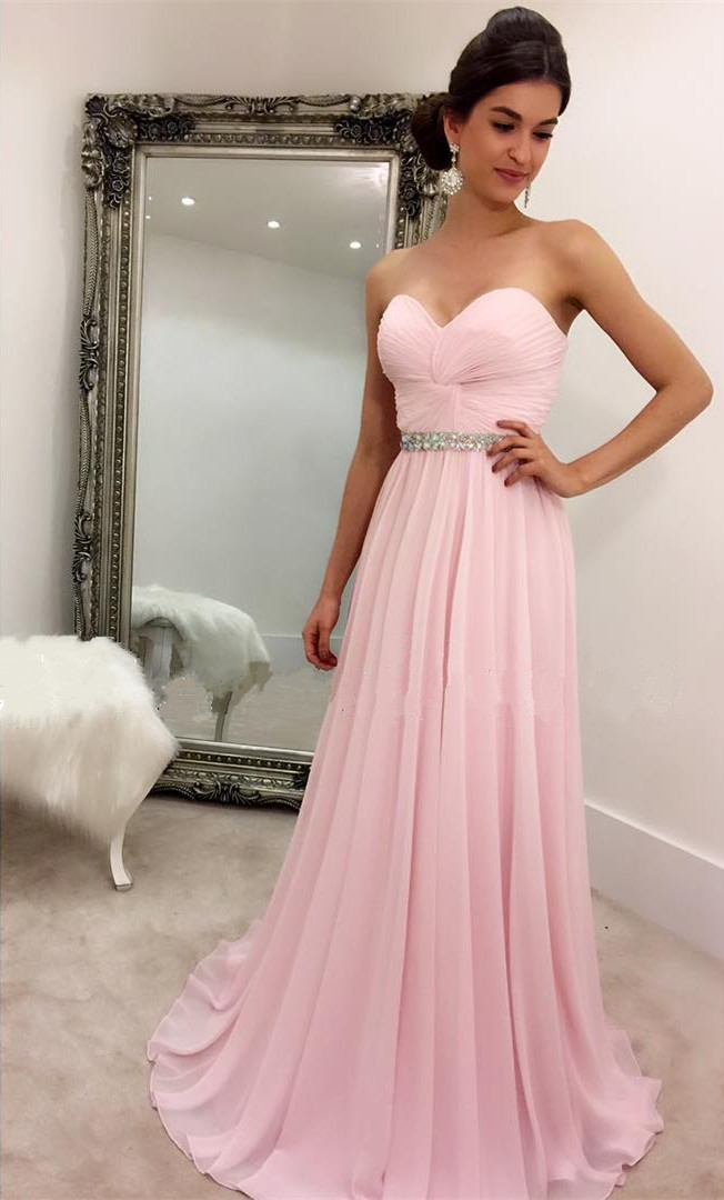 65a2df268a6 Pink Evening Dress Chiffon Sweetheart Sequins Beaded A-Line Floor Length  Pleated Formal Prom Dress