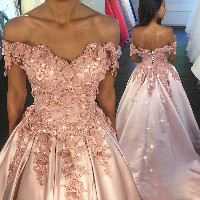 4ca693b6620 Pink Ball Gown Prom Dress V Neck Off Shoulder Lace Appliques Flowers  Lace-up Formal