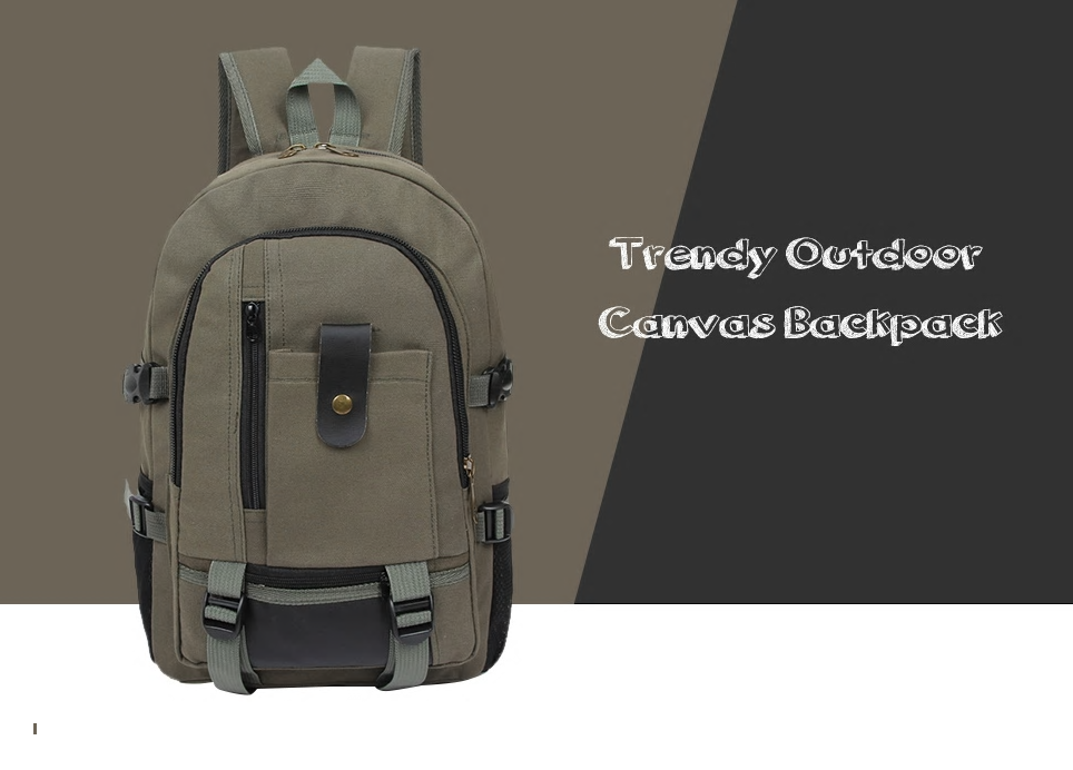 Men Trendy Outdoor Large Capacity Canvas Backpack · En.Vision ... 4c5c6fa3b9c72