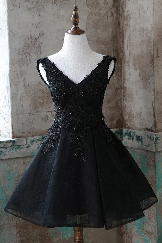 2c889f1f86 Black V-Neck Applique Beaded Homecoming Dress