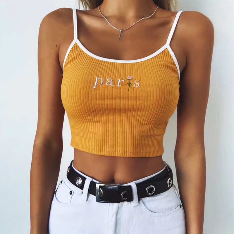 2781cee44c4a95 Paris Floral Embroidered Crop Top Ribbed Cami Women Girls Tank Tops in  Yellow / White