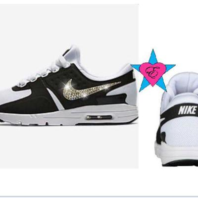 8648bb1373f5 ... Custom crystal blinged out women nike air max zero shoes
