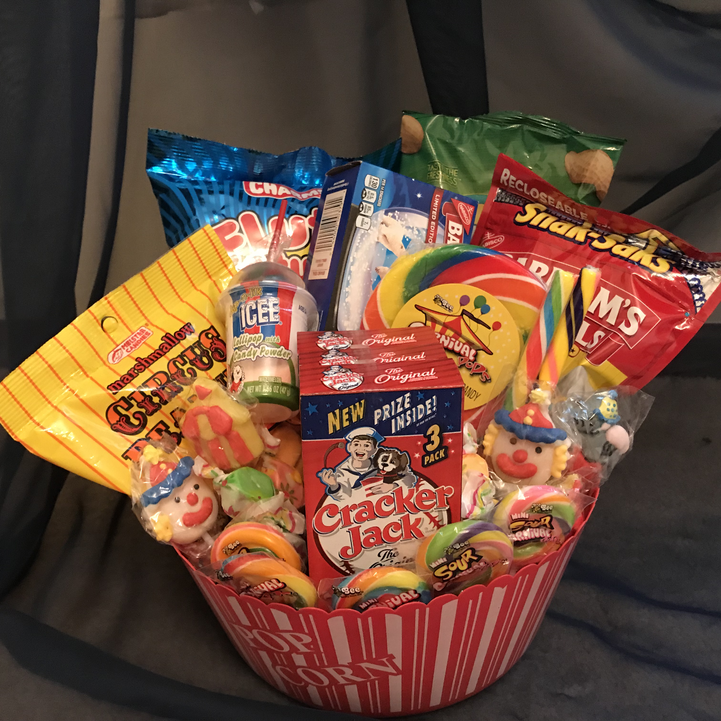 circus carnival treats gift basket on storenvy