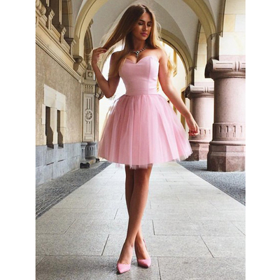 117bf9602040 Pink Short Prom Dress Sweetheart Lace-up Satin Dresses For Graduation Formal  Short Homecoming Dresses