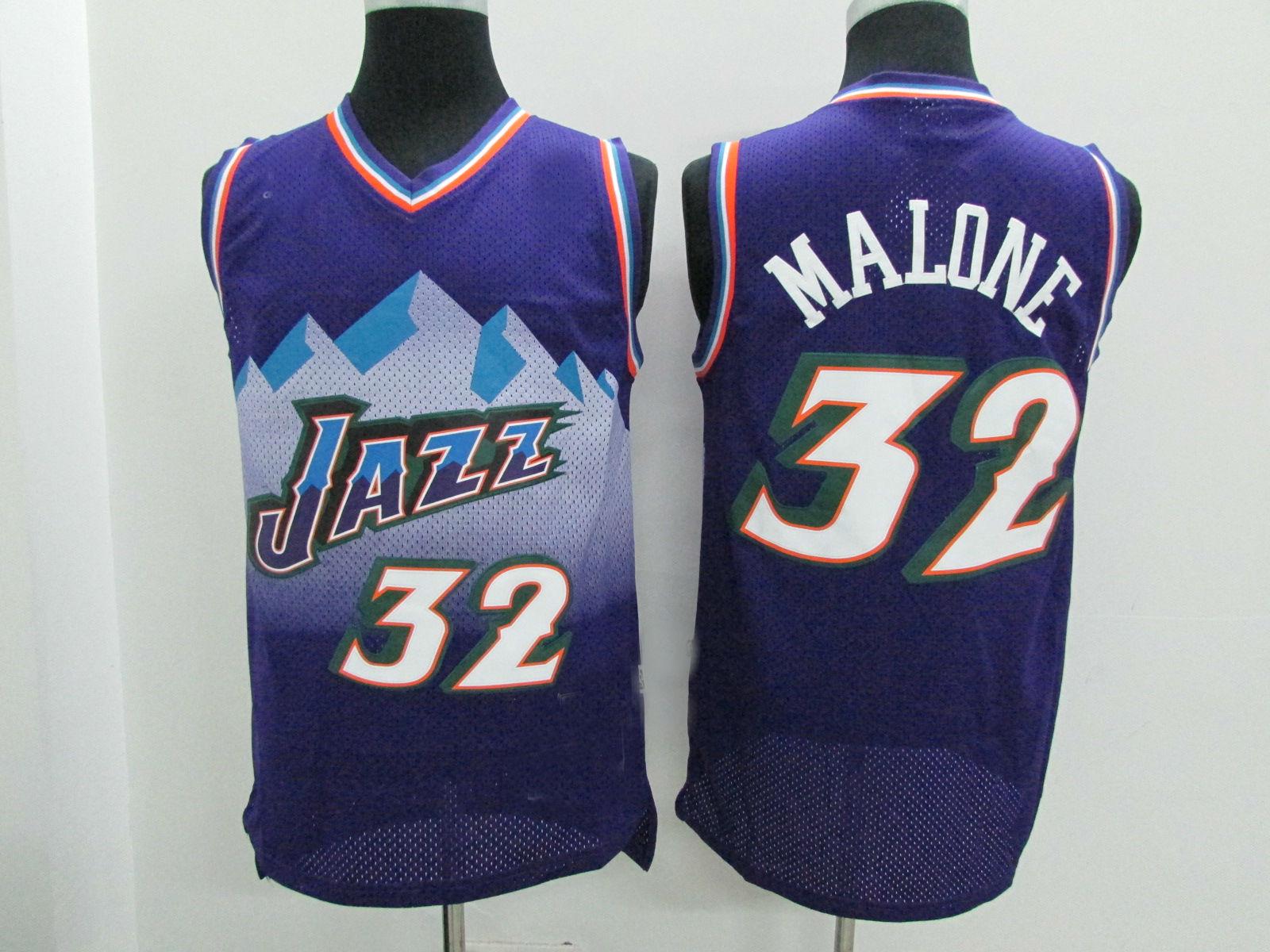 c9e781a1d Utah Jazz Retro Jerseys  32 Malone Purple Throwback Basketball Jersey