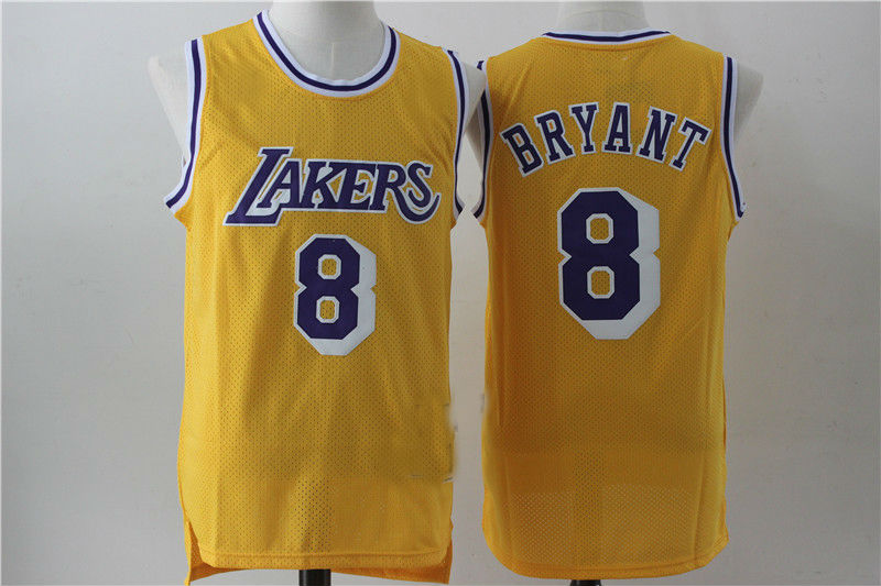 8877f4525235 Los Angeles Lakers  8 Kobe Bryant Yellow Throwback Basketball Jersey ...