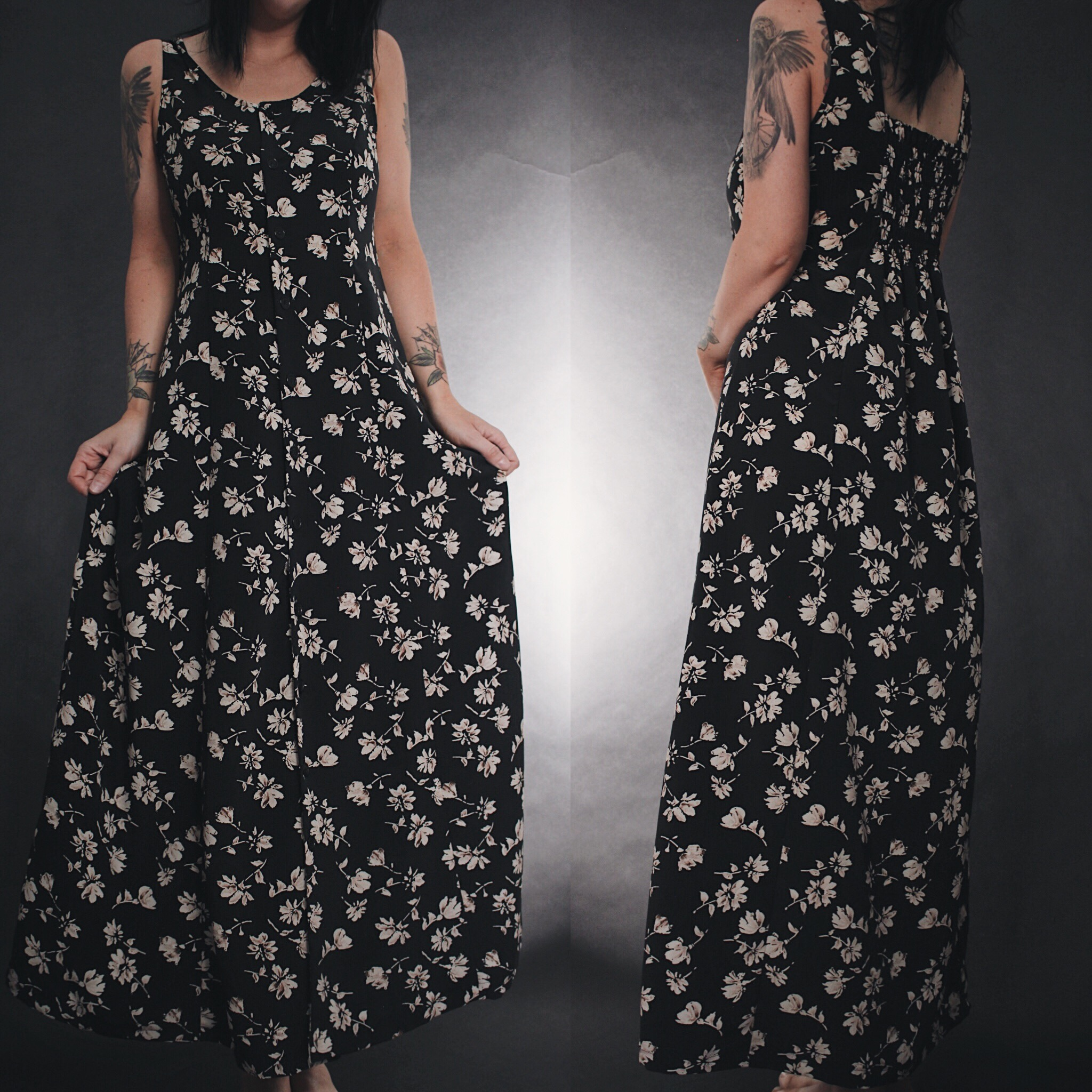 a2fa753c0e RESERVED FOR STAR - Vintage 90s Black   Tan Floral Maxi Dress · Last ...