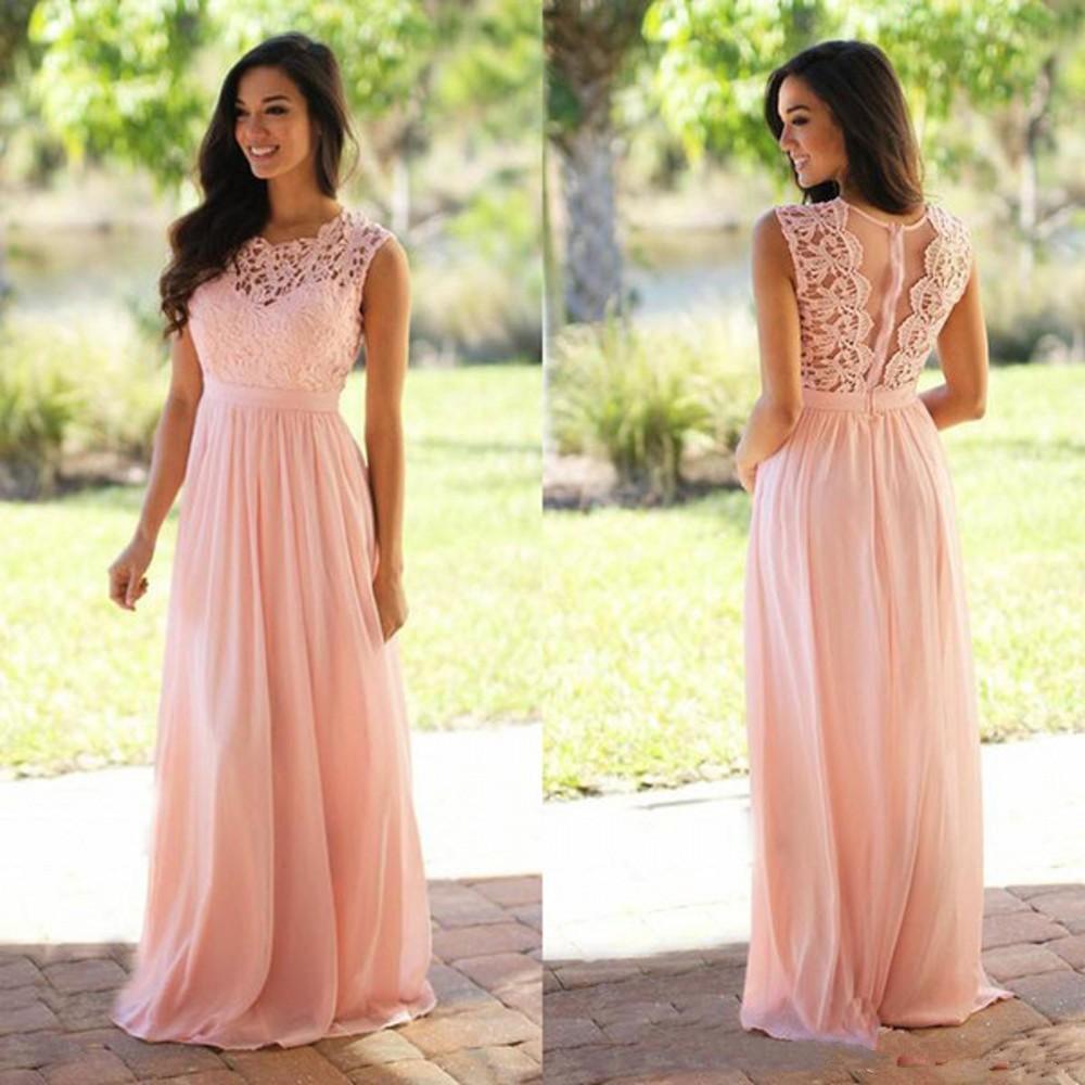 Simple Design Blush Lace Bridesmaid Dresses Chiffon A Line Maid Of