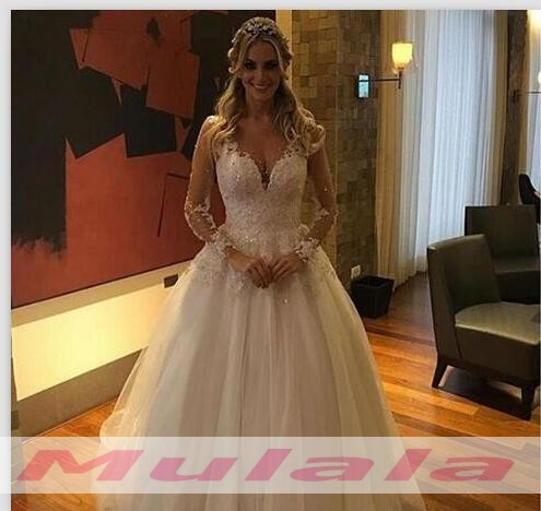 White Lace Appliques Long Sleeves Wedding Dress 2018 Off Shoulder Wedding Gowns Ball Gown Backless Bridal Gowns Promyan,Ball Gown Wedding Dress Sparkle