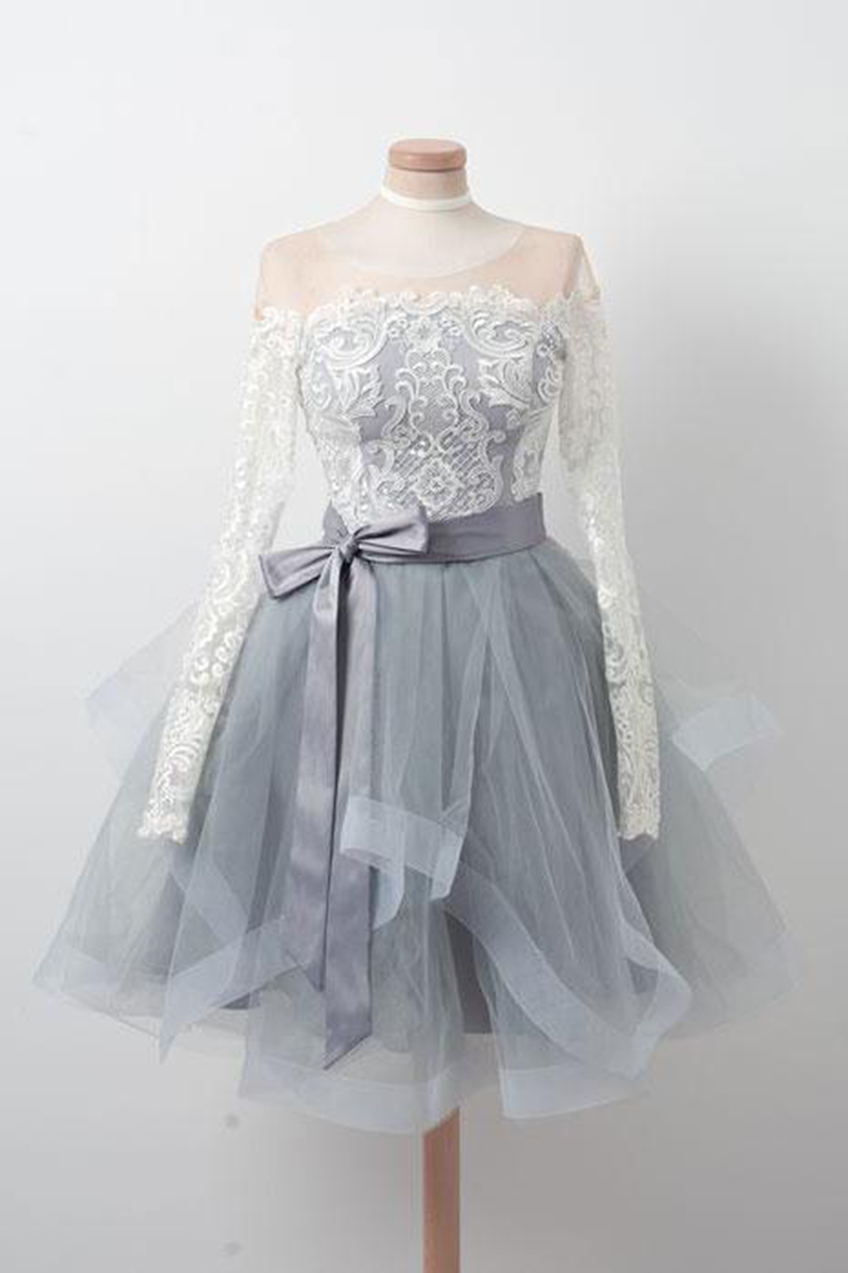 fd344d0787b Gray tulle short ruffles prom dress with long sleeves